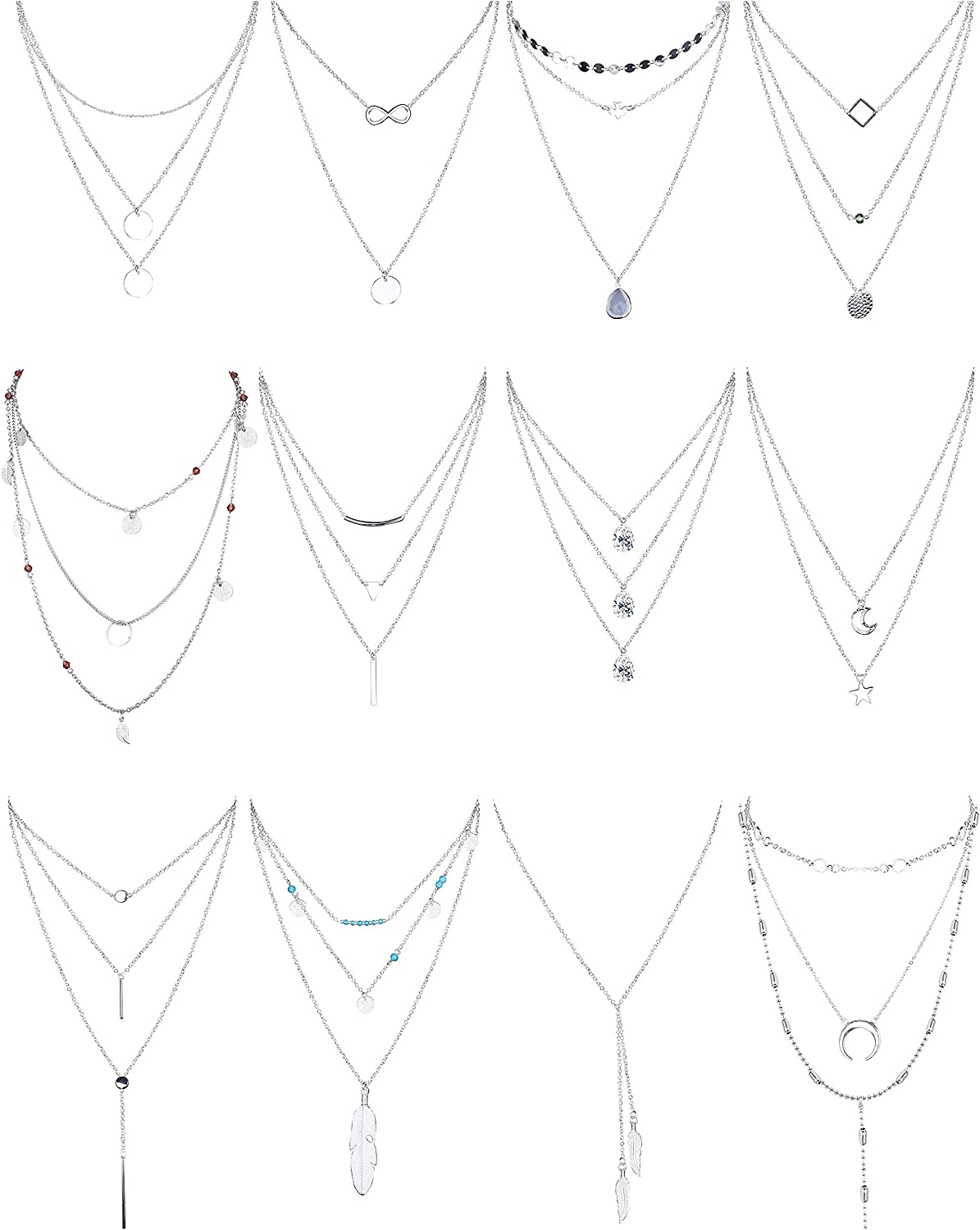 FINREZIO 12 PCS Gold Plated Layered Necklace for Women Girls Sexy Long Choker Chain Y Necklace Bar Feather Pendent Necklace Sets