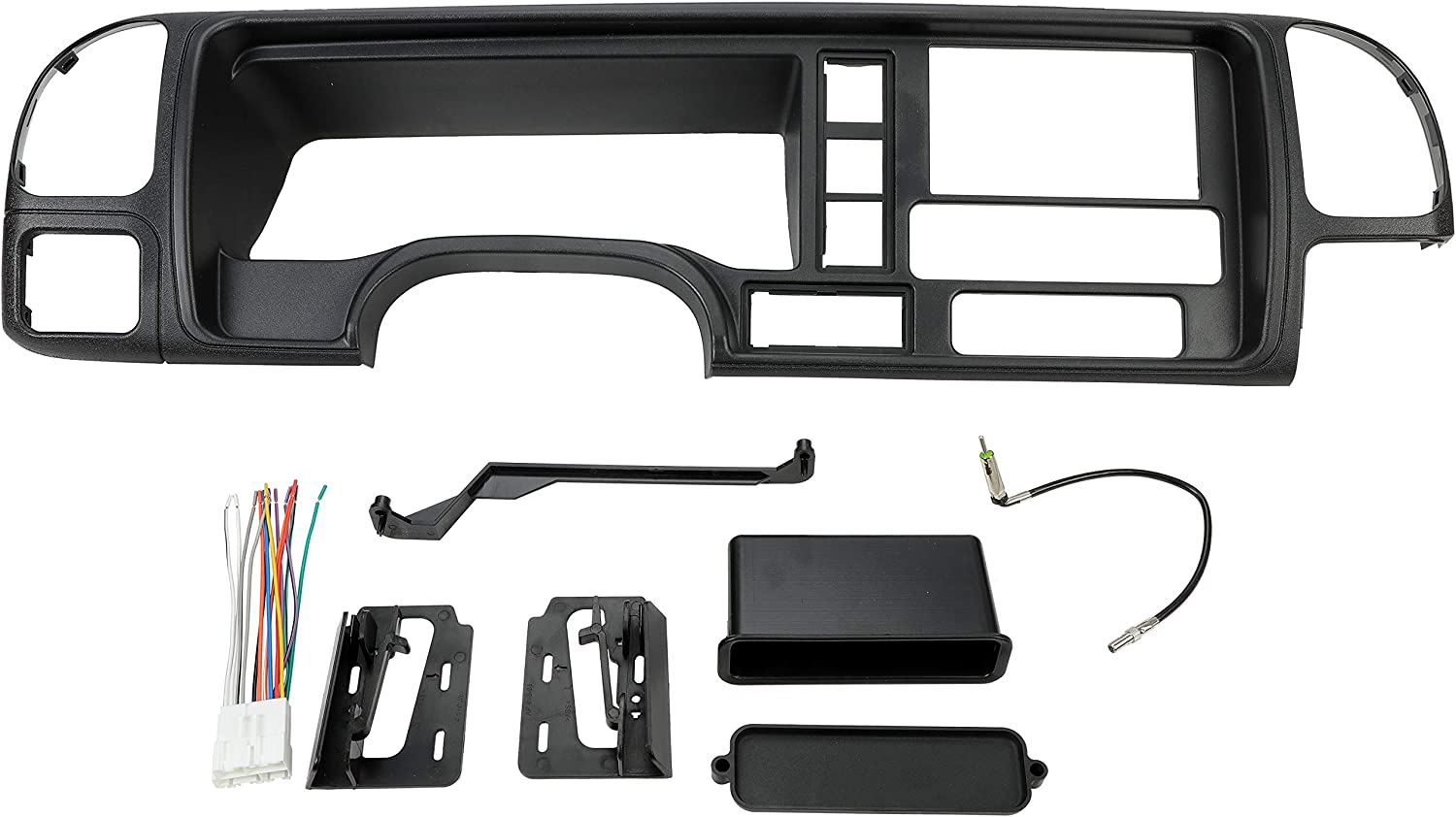 ECOTRIC Car Radio Stereo Double Din Dash Kit Panel Compatible with 1995-2002 GM Truck SUV Wire Harness Trim Bezel Panel