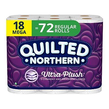 Quilted Northern Ultra Plush Toilet Paper, 18 Mega Rolls, 18 = 72 Regular Rolls, 3 Ply Bath Tissue