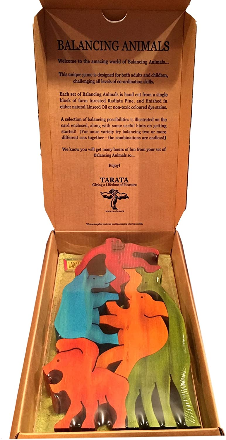 Tarata Balancing Animals, Jungle Animals. In Gift Box. Made From NZ Farm Forested Radiata Pine (color)