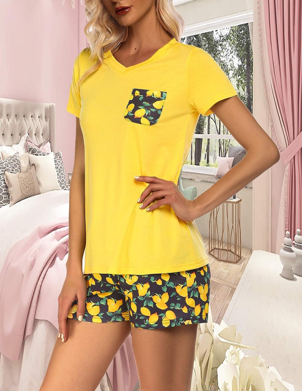 Evanhome Women Pajamas Set Short Sleeve 2 Piece PJ Set V-Neck Tops and Shorts Lounge Set Printed Sleepwear