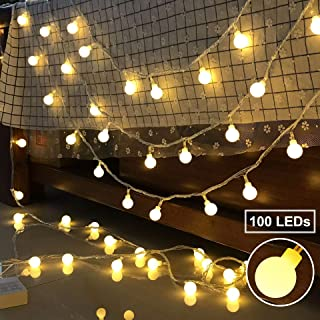 Ollny Globe String Lights 100 LEDs 33ft for Bedroom Indoor Outdoor Fairy String Lights Warm White for Christmas Wedding Party Garden Decoration with Remote Timer Plug in Waterproof NOT CONNECTABLE