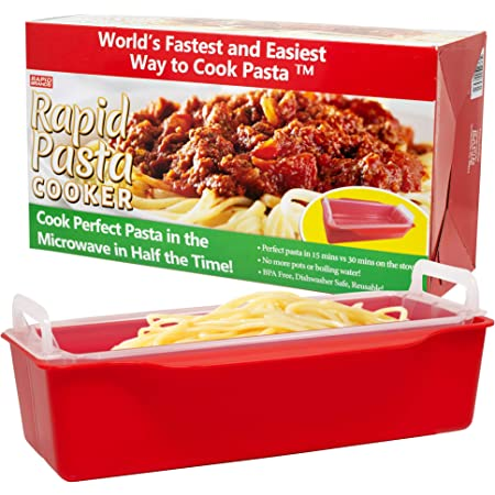 Rapid Pasta Cooker   Microwave Any Pasta in Half the Time   Perfect for Dorm, Small Kitchen, or Office   Dishwasher-Safe, Microwaveable, and BPA-Free