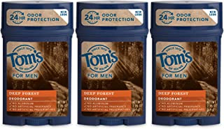 Tom's of Maine Natural Long Lasting Men's Deodorant Stick, Deep Forest, 2.25 Ounce, Pack of 3
