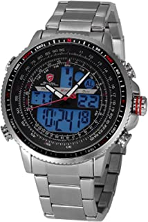 Winghead Shark Men's Digital Analog Quartz Day Date Alarm Stainless Steel Wrist Watch
