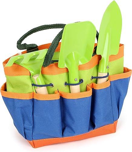 Small Foot 12015 Gartentasche kompakt, aus Holz und Metall, mit 3 Gartenwerkzeugen, Gartenspielzeug für Kinder AB 3 J...