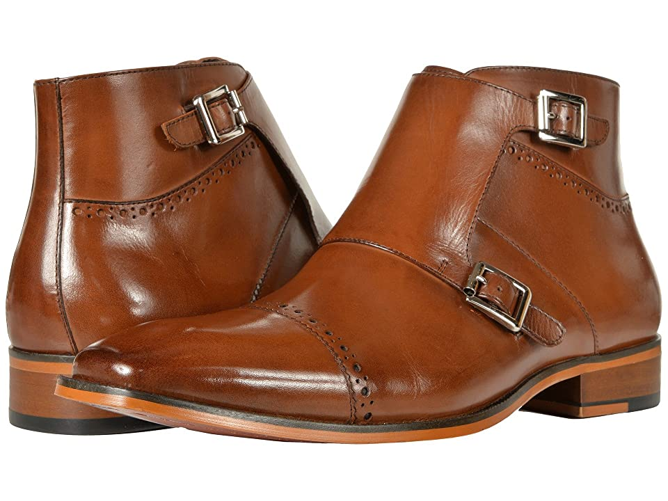 Stacy Adams Kason Cap Toe Double Monkstrap Boot (Saddle Tan) Men