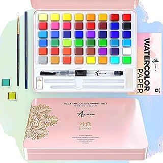 ARTISTRO Watercolor Paint Set, 48 Vivid Colors in Tin Gift Box, Watercolor Paper and Brushes. Watercolor Kit Perfect as Ki...
