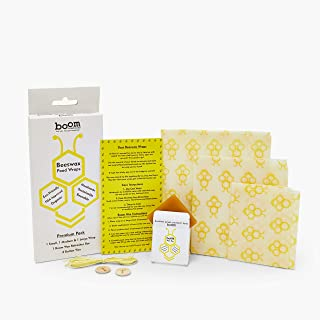 Beeswax Food Wrap - Reusable Eco Friendly Kitchen Storage, use Bees Wax wrap for Leftovers, Bread, Snacks, Sandwiches, No Waste - Sustainable Food Saver, Plastic Free Alternative to cling wrap 3 pack