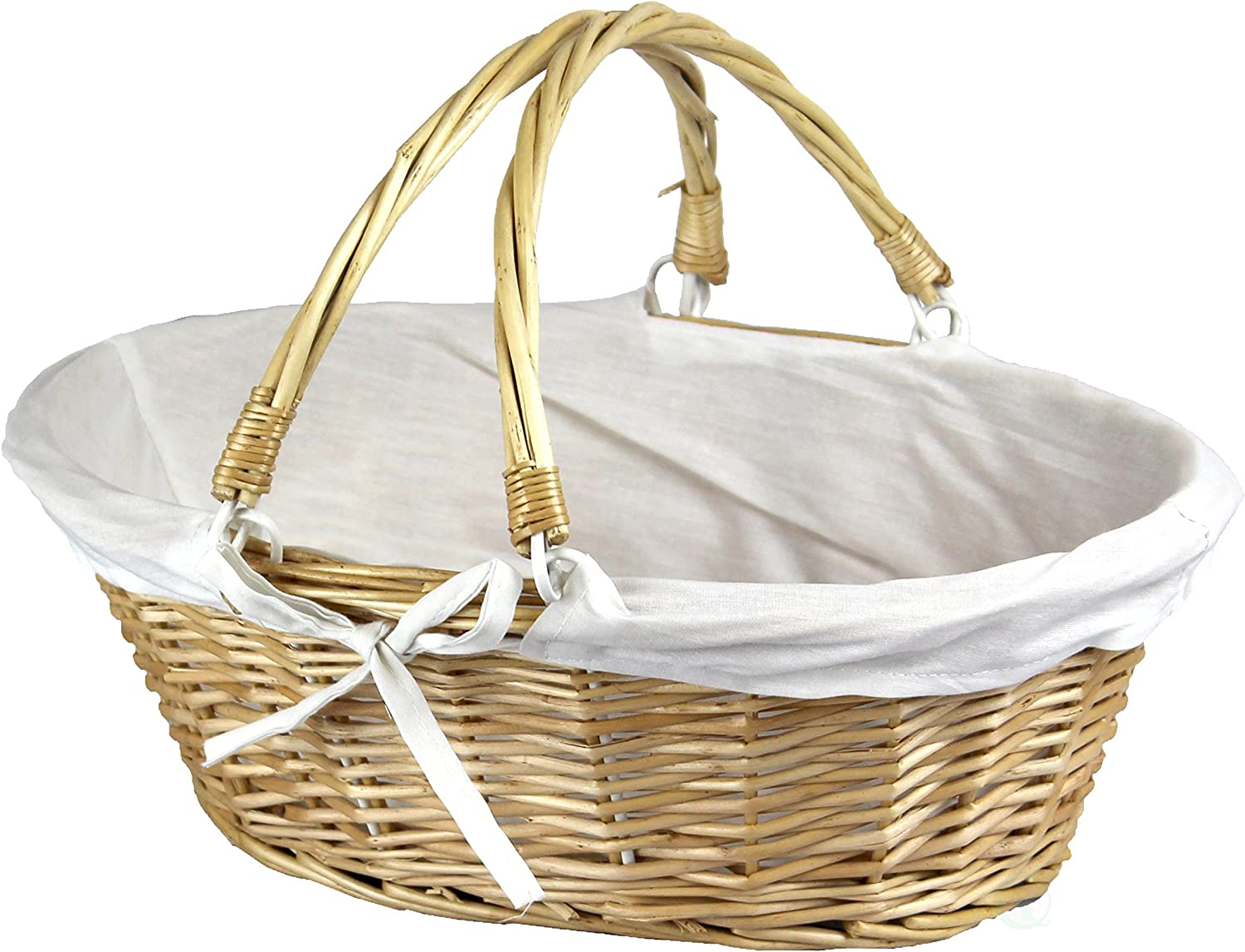 Vintiquewise(TM QI003055W Oval Willow Basket with Double Drop Down Handles (3, White)