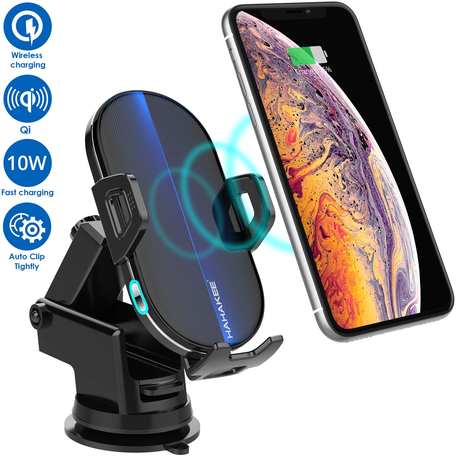 Wireless Car Charger Mount Sensor Auto Clamping 10W 7.5W Fast Charging Air Vent Phone Holder Compatible with iPhone 11 Pro Max//Xs//Xs Max//XR//X//8//8 Plus Samsung S10//S10+//S9//S9+//S8 /& All Qi Device T3