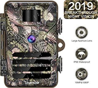 Tovendor 16MP Trail Game Camera Night Vision Motion Activated, No Glow Field Wildlife Hunting Trap Cam Deer Bear Monitor, IP66 Waterproof
