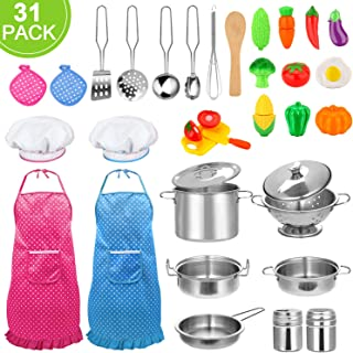 31pcs Kids Kitchen Pretend Play Toys Toy Kitchen Set with Stainless Steel Cooking Utensils Cookware Pots and Pans Set Healthy Vegetables, Knife, Little Chef for Toddlers & Children Boys Girls