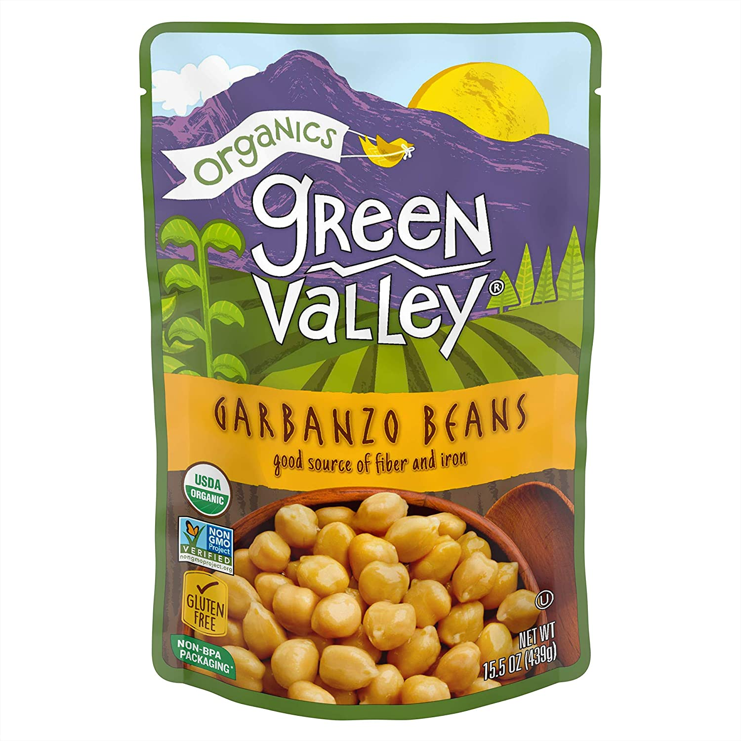 Green Valley Organics 2021 new Garbanzo Beans Ounce of 15.5 Max 70% OFF Pouch Pack