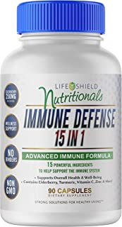 Immune Defense 15 in 1. 90 Capsules. Made with Natural Ingredients, Quercetin 250mg, Elderberry 250mg, Oregano Leaf 250mg,...