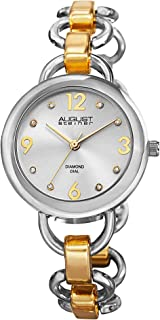 August Steiner Women's Fashion Watch - Sunburst Diamond Dial with Big Number Hour Markers on Tone Stainless Steel Chain Bracelet