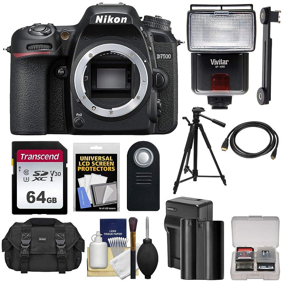 Nikon D7500 Wi-Fi 4K Digital SLR Camera Body with 64GB Card + Battery & Charger + Case + Tripod + Flash + HDMI Cable + Kit