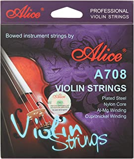 Alice 4/4 Violin Strings Al-Mg Cupronickel Winding with Polished Copper Ball End
