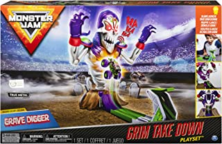 Monster Jam Grim Takedown Playset with Lights & Sounds & Exclusive 1:64 Grave Digger Monster Truck
