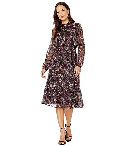 LAUREN Ralph Lauren Petite Tie-Belt Dress (Polo Black Multi) Women