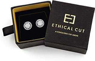 Conflict Free, Authentic Lab Diamond Round Pavé Stud Earrings. Clustered Etched Design for Maximum Shine.
