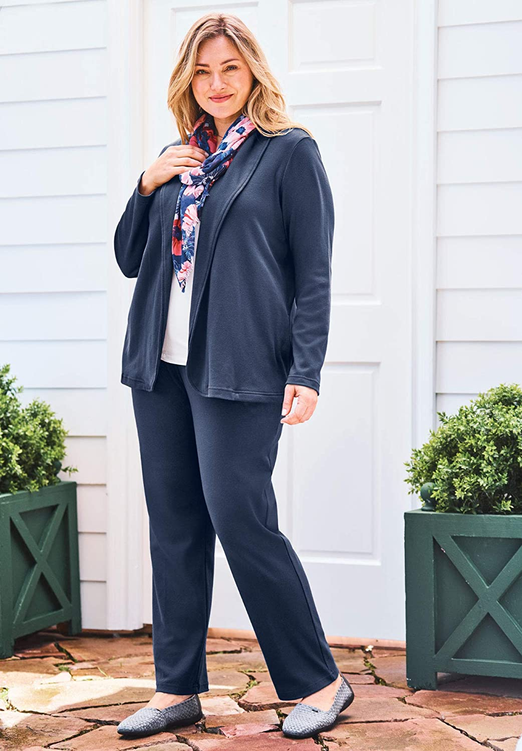 Woman Within Women's Plus Size 7-Day Knit Jacket