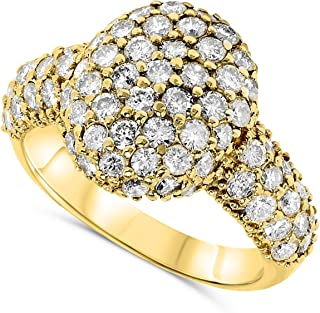2 Carat 18k Yellow Gold Natural Diamond Studded Oval Dome Designer Cocktail Ring For Women.