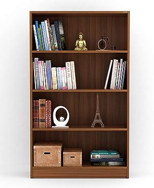 Bluewud Alex Wall Book Shelf/Home Decor Display & Storage Rack Cabinet Unit (Walnut, 4 Shelves)