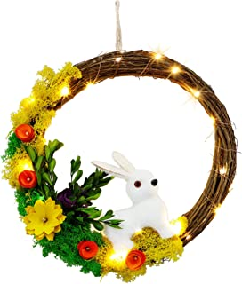 winemana Easter Bunny Spring Wreath, Handmade with Pure Natural Materials, Blossom Rabbit Garland with 20 LED String Light...