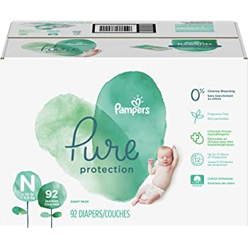 Diapers Newborn/Size 0 (< 10 lb), 92 Count - Pampers Pure Protection Disposable Baby Diapers, Hypoallergenic and Unscented Protection, Giant Pack (Old Version)