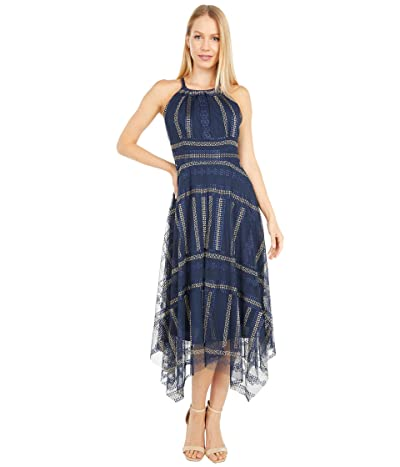 Vince Camuto Embroidered Mesh Halter Midi w/ Handkerchief Hem (Navy Multi) Women
