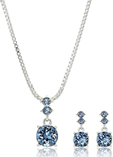 Women's Boxed Necklace/Pierced Earrings Set, Silver/Blue,...