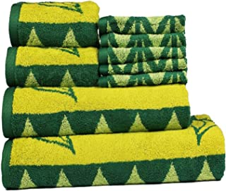 CASA COPENHAGEN Trident Jacquard Super Cotton 450 GSM 9 Pieces Bath, Hand & Wash Cloth Towels Set, Green