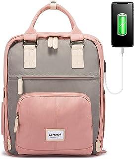 کوله پشتی لپ تاپ مردانه و زنانه LOVEVOOK کوله پشتی مدرسه ای با محفظه لپ تاپ 15.6 اینچ کوله پشتی دخترانه و پسرانه کار کوله پشتی مسافرتی صورتی