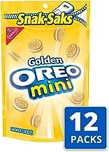 OREO Mini Golden Sandwich Cookies, Vanilla Flavor, 12 Resealable Snak-Saks
