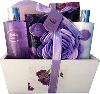 Spa Gift Basket, Spa Basket with Lavender Fragrance, Lilac color by Lovestee - Bath and Body Gift Set, Includes Shower Gel, Body Lotion, Hand Lotion, Bath Salt, Flower Bath-Body Sponge and EVA Sponge