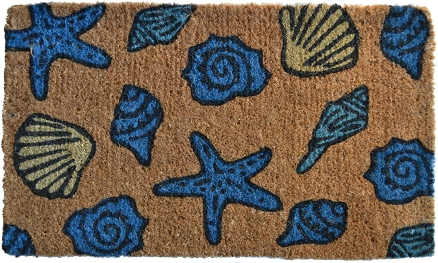 Imports Décor Decorated Coir Doormat, Sea Shells, 18 by 30-Inch