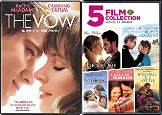 6 Romance Movies Nicholas Sparks The Notebook / A walk to Remember / Nights in Rodanthe / Message in a Bottle / Lucky One & The Vow DVD Set Love Bundle Collection pack