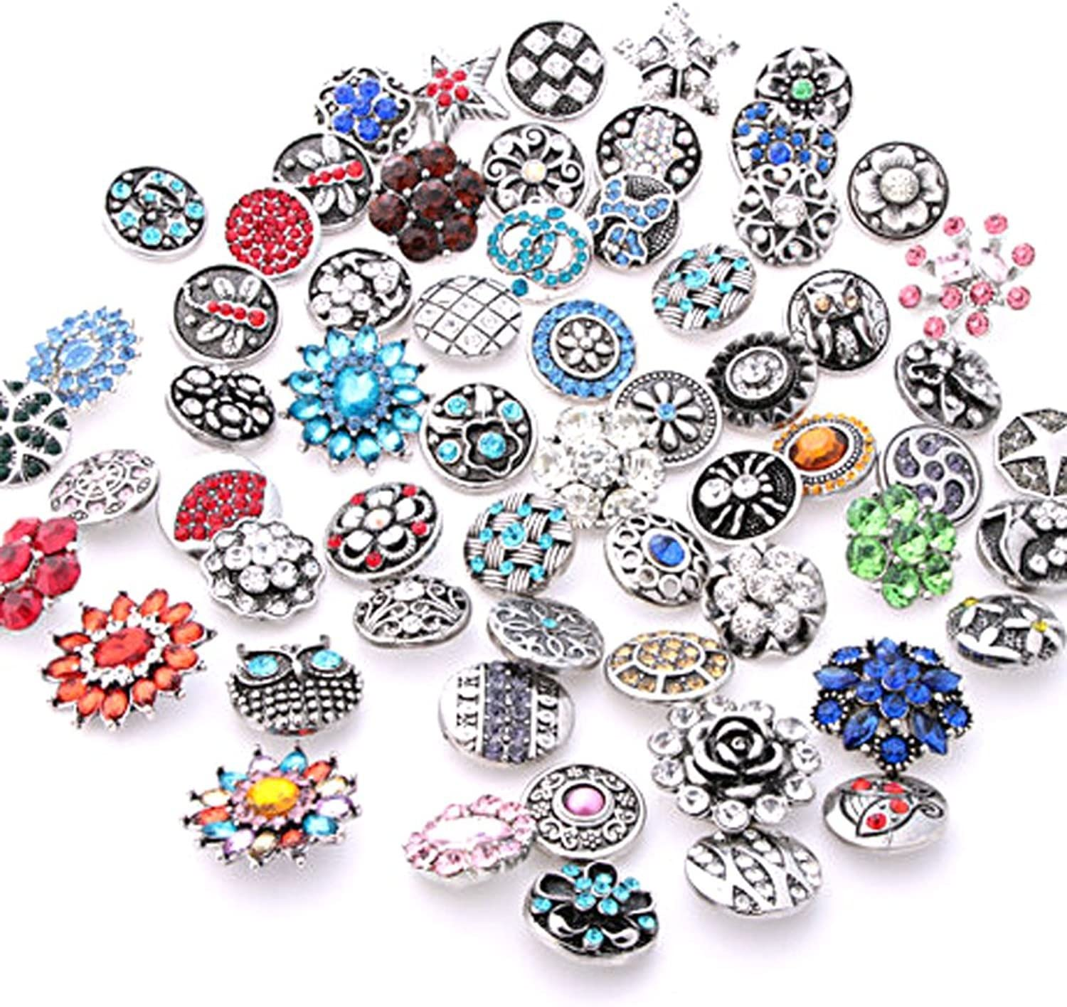 Ginooars Pack of Regular discount Dedication 50 Rhinestone Snap S for Buttons 18-20mm Charms