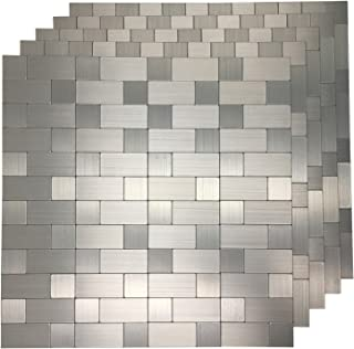 Art3d Stainless Steel Backsplash Peel and Stick Tile for Kitchen 5-Piece, Silver Aluminum Surface