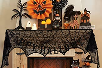 jollylife 2Ct Halloween Decorations Spiderweb Lace Scarf - Mantel Fireplace Door Cover Yard Party Supplies Decor