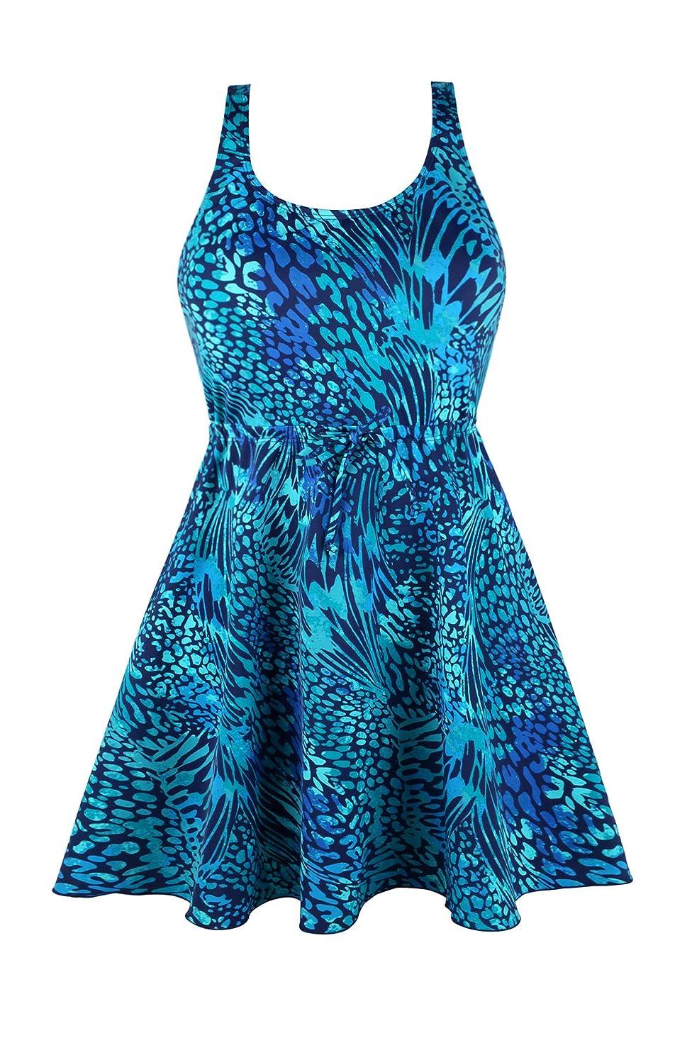 JINXUEER Women's Plus Size Swimsuit One Piece Floral Print Swimwear Tummy Control Swimdress with Flared Skirt