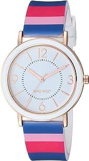 Nine West reloj de pulsera de silicona a rayas multicolor para mujer