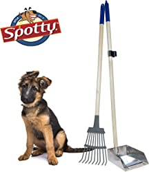 Spotty Solid Wood Handled Metal Poop Tray with Rake Pooper Scooper 36.75  Long Scoop Great for Large or Small Dogs
