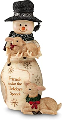 BirchHeart 6.25-Inch Tall Snowman Holding Fawn, Reads Friends Make The Holidays Special by Pavilion Gift Company