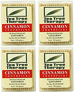 Tea Tree Therapy Toothpicks, Cinnamon, 100 Count (4-Pack)