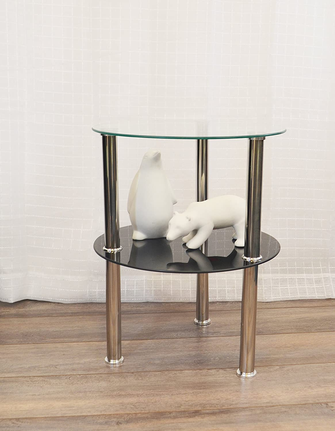 Newport Collection Sacha 2 Tier Glass End Table Side Table (Black & Clear)