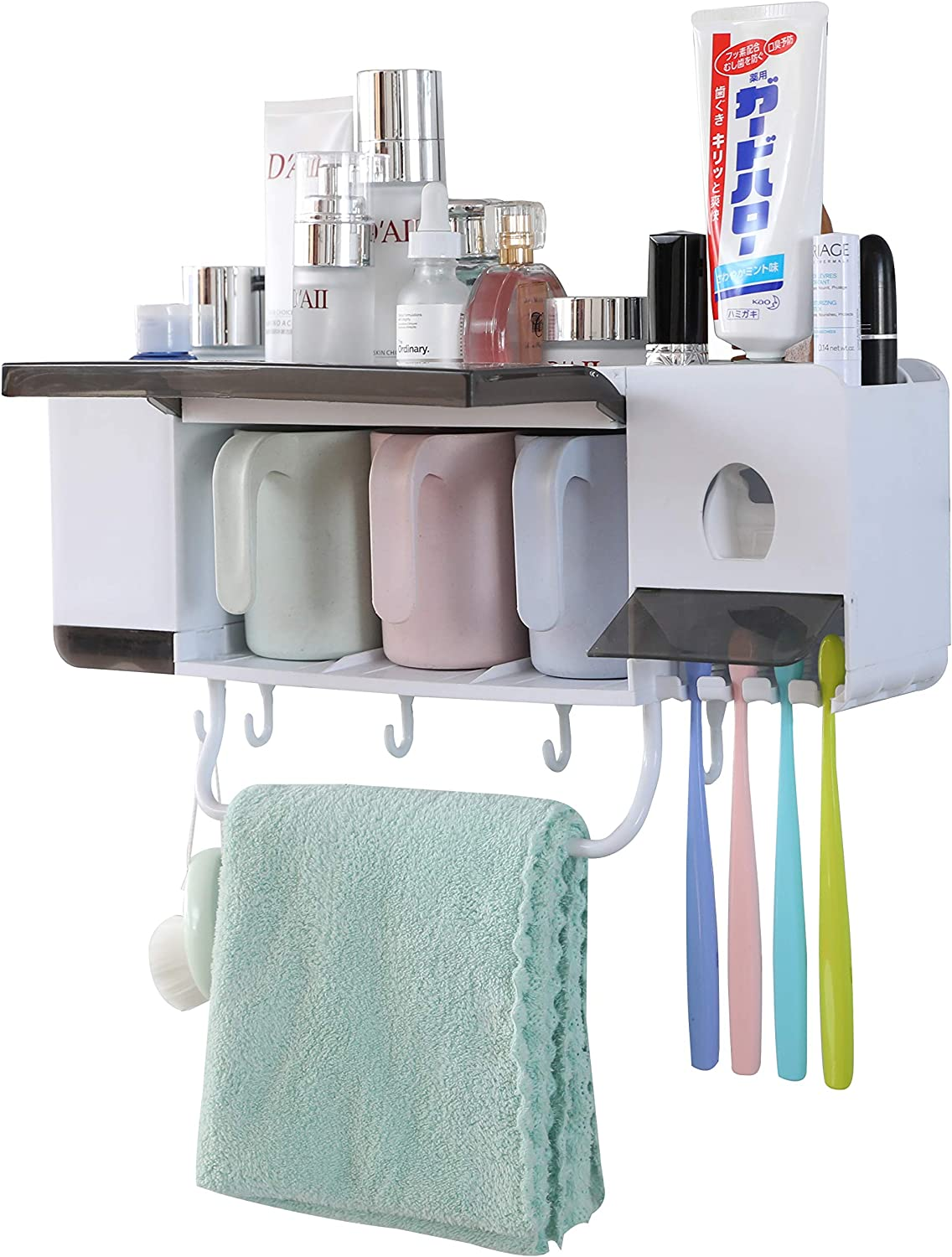 3 Brush Slots and 1 Towel Bar No Drill Need 2 Cups KQGO Wall Mounted Toothbrush Holder Toothbrush Cup with Dusk Proof Cover Makeup Storage Drawer 2 Cups Automatic Toothpaste Dispenser Squeezer