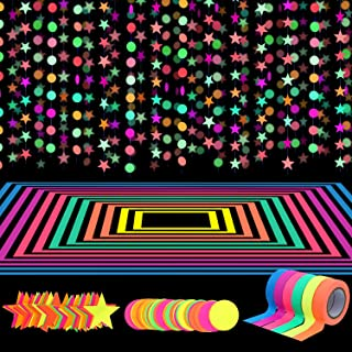 127ft Neon Party Supplies Set, 6 Colors 98.4ft UV Blacklight Reactive Tape, 29ft Neon Paper Garlands Circle Dots Stars Han...