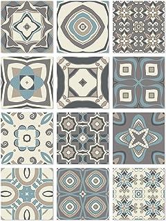 Panorama Azulejos Adhesivos Cocina Baño Pack de 24 Baldosas de 20x20cm - Modelo Hidráulico Azul - Vinilos Cocina Azulejos - Revestimiento de Paredes - Cenefas Azulejos Adhesivas